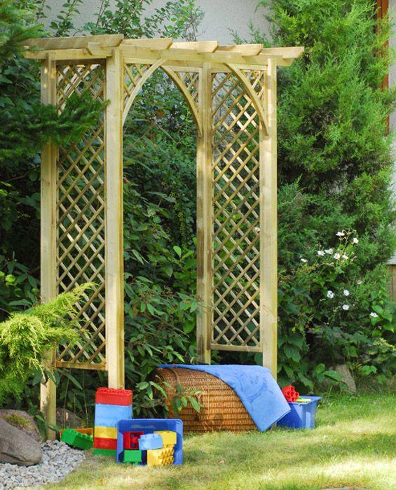 Drewniana pergola ogrodowa, dekoracja ogrodu